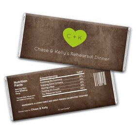 Rehearsal Dinner Personalized Chocolate Bar Wrappers Monogrammed Heart