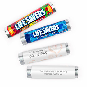 Personalized Rehearsal Dinner Swirled Hearts Lifesavers Rolls (20 Rolls)