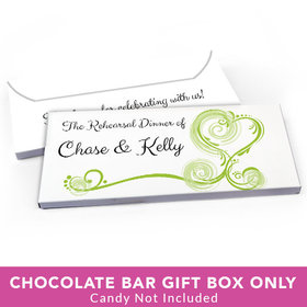 Deluxe Personalized Rehearsal Dinner Swirled Hearts Candy Bar Cover