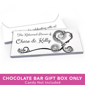 Deluxe Personalized Rehearsal Dinner Swirled Hearts Candy Bar Favor Box