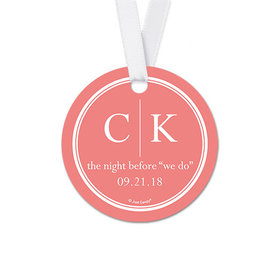 Personalized Round Initials Rehearsal Dinner Favor Gift Tags (20 Pack)