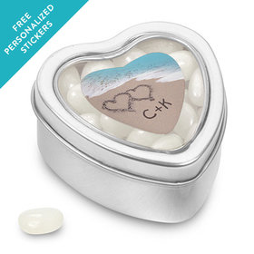 Rehearsal Dinner Personalized Small Heart Tin Names and Hearts in Sand Sea Shore (25 Pack)