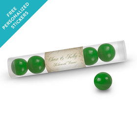 Rehearsal Dinner Personalized Gumball TubeMonogram Leaves Swirls (12 Pack)