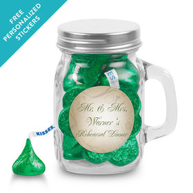 Rehearsal Dinner Personalized Mini Mason Jar Monogram Leaves Swirls (12 Pack)