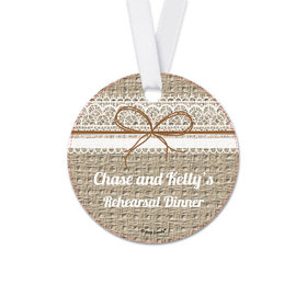 Personalized Round Burlap & Lace Rehearsal Dinner Favor Gift Tags (20 Pack)