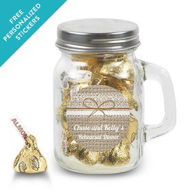 Rehearsal Dinner Personalized Mini Mason Jar Burlap and Lace (12 Pack)