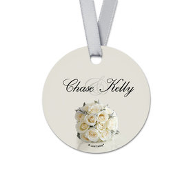 Personalized Round Bouquet Rehearsal Dinner Favor Gift Tags (20 Pack)