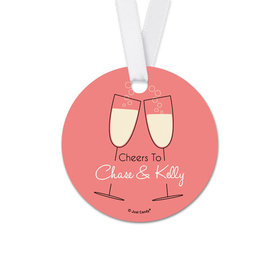 Personalized Round Cheers Rehearsal Dinner Favor Gift Tags (20 Pack)