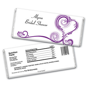 Bridal Shower Favor Personalized Chocolate Bar Wrappers Swirled Hearts