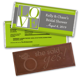 Bridal Shower Favor Personalized Embossed Chocolate Bar Pop Art Square Love