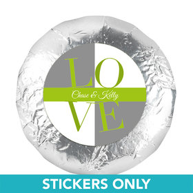 "Bridal Shower Favor 1.25"" Sticker Pop Art Square Love (48 Stickers)"