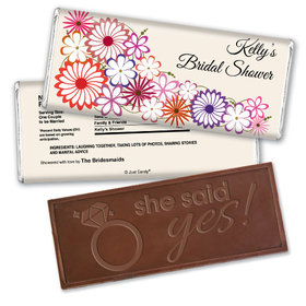 Bridal Shower Favor Personalized Embossed Chocolate Bar Colorful Flowers