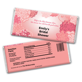 Bridal Shower Favor Personalized Chocolate Bar Wrappers Pink Flowers