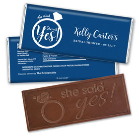 Bridal Shower Favor Personalized Embossed Chocolate Bar She Said Yes! Ring