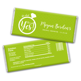 Bridal Shower Favor Personalized Chocolate Bar Wrappers She Said Yes! Ring