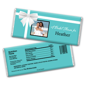 Bridal Shower Favor Personalized Chocolate Bar Wrappers Tiffany Style Bow