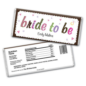 Bridal Shower Favor Personalized Chocolate Bar Wrappers Colored Bride to Be