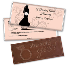Bridal Shower Favor Personalized Embossed Chocolate Bar Bride Silhouette