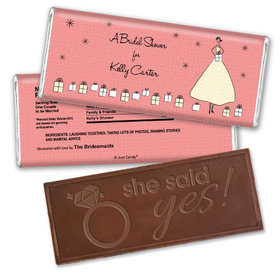 Bridal Shower Favor Personalized Embossed Chocolate Bar Many Gifts