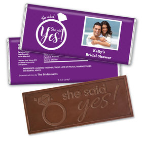 Bridal Shower Favor Personalized Embossed Chocolate Bar She Said Yes! Photo