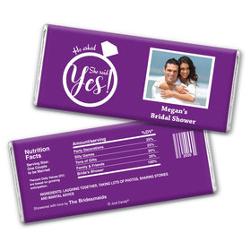 Bridal Shower Favor Personalized Chocolate Bar Wrappers She Said Yes! Photo