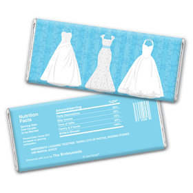 Bridal Shower Favor Personalized Chocolate Bar Wrappers Wedding Dresses