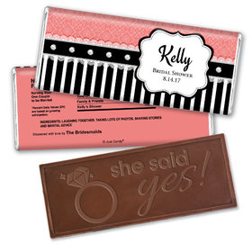 Bridal Shower Favor Personalized Embossed Chocolate Bar Stripes and Dots