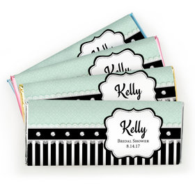 Bridal Shower Favor Personalized Chocolate Bar Stripes and Dots