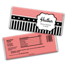 Bridal Shower Favor Personalized Chocolate Bar Wrappers Stripes and Dots