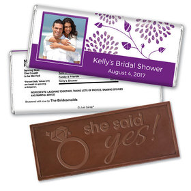 Bridal Shower Favor Personalized Embossed Chocolate Bar Leaves with Photo
