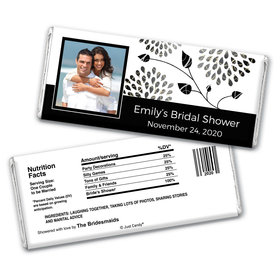 Bridal Shower Favor Personalized Chocolate Bar Wrappers Leaves with Photo