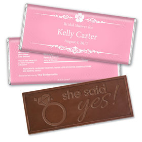 Bridal Shower Favor Personalized Embossed Chocolate Bar Flower Border