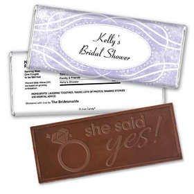 Bridal Shower Favor Personalized Embossed Chocolate Bar Winter Snow Squiggle