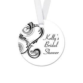 Personalized Round Heart Swirls Bridal Shower Favor Gift Tags (20 Pack)