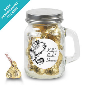 Bridal Shower Favor Personalized Mini Mason Jar Swirled Hearts (12 Pack)