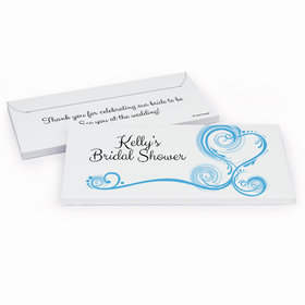 Deluxe Personalized Bridal Shower Swirled Hearts Chocolate Bar in Gift Box
