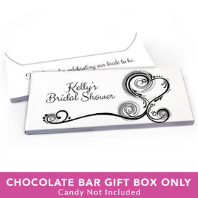 Deluxe Personalized Bridal Shower Swirled Hearts Candy Bar Favor Box