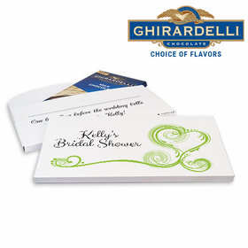 Deluxe Personalized Bridal Shower Heart Scroll Ghirardelli Chocolate Bar in Gift Box