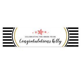 Personalized Stripes & Flowers Bridal Shower Banner