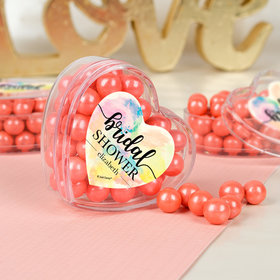 Personalized Bridal Shower Watercolor Dream Assembled Acrylic Heart Container with Sixlets