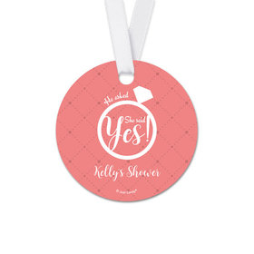 Personalized Round Diamond Ring Bridal Shower Favor Gift Tags (20 Pack)