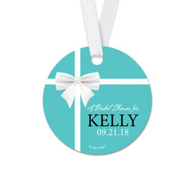Personalized Round White Bow Bridal Shower Favor Gift Tags (20 Pack)