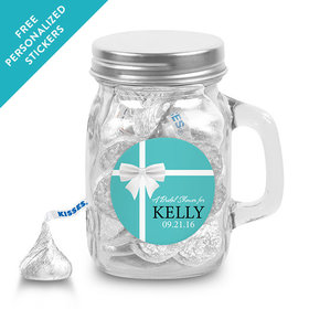 Bridal Shower Favor Personalized Mini Mason Jar Tiffany Style Bow (12 Pack)