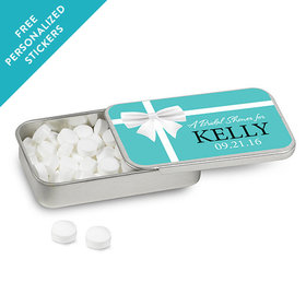 Bridal Shower Favor Personalized Mint Tin Tiffany Style Bow (12 Pack)