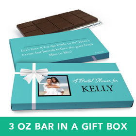 Deluxe Personalized Wedding Tiffany Bow Belgian Chocolate Bar in Gift Box (3oz Bar)