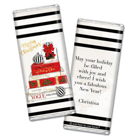 Personalized Christmas Holiday Chic Chocolate Bar Wrappers Only