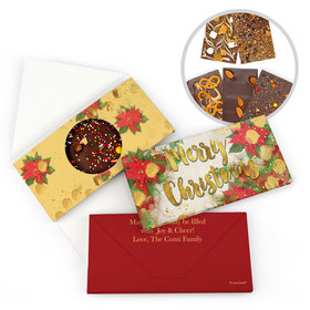 Personalized Merry Christmas Holly Gourmet Infused Belgian Chocolate Bars (3.5oz)