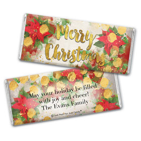 Personalized Christmas Holly Chocolate Bar Wrappers Only