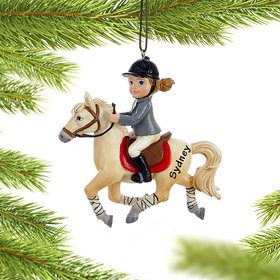 Young Equestrian Horse Rider (White Horse) Ornament