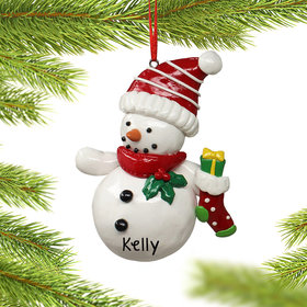 Snowman Holding a Stocking Ornament
